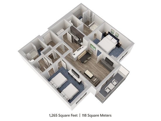 Two Bedroom, Two Bathroom Family Suite Floor Plan