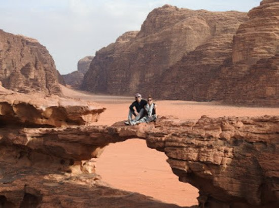 2-Day Tour: Petra, Wadi Rum, and Dead Sea from Amman: Photo opp on our jeep tour through the Wadi Rum desert