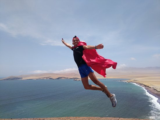 Paracas and Huacachina from Lima with Ballestas Islands and Sand Boarding: Gabriel, the lord himself flying in the great skies of Paracas National Reserve.
