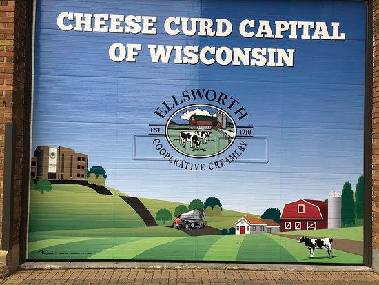 Ellsworth, WI: Sign outside Creamery