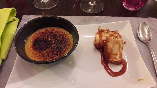 L'Alliance: Crème brûlée au spéculos, nem de pommes et caramel