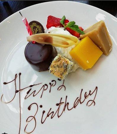 Birthday plate provided.