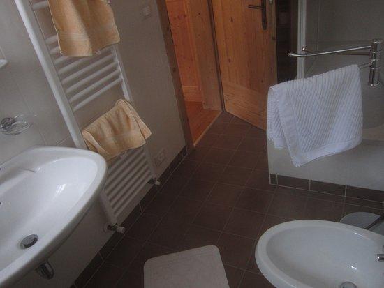 Rifugio Fodara Vedla: Bagno modesto e molto sintetico...con idromassaggio in doccia! WOW!