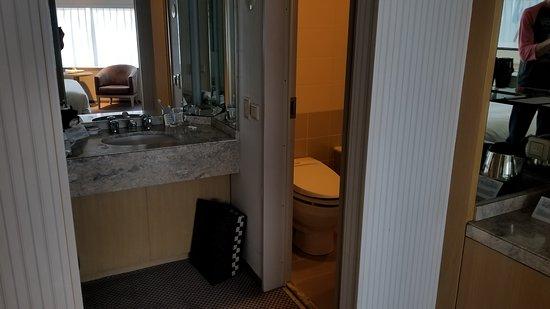 Hotel New Grand: Bathroom area and mini bar on the far right.