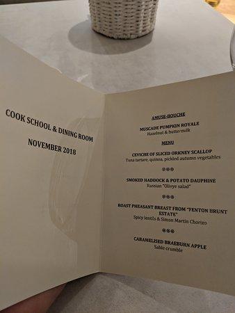 November's menu