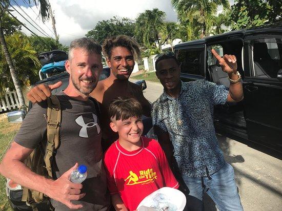Happy surfers at Ride The Tide Surf School Barbados