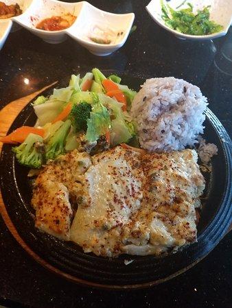 Zesty Cod: Cod, steamed veggies, rice.