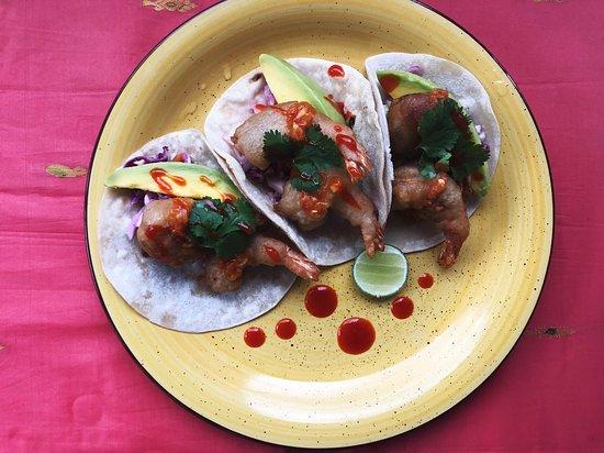 The Hideout Unawatuna: Battered Shrimp Taco w/ sliced avo, mango salsa, pickled Cabbage & spicy aioli
