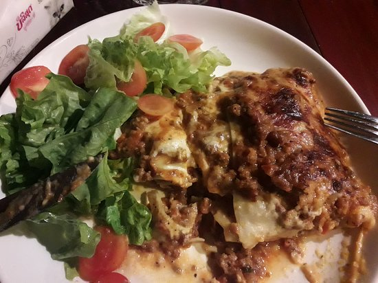 Authentic lasagna with salad