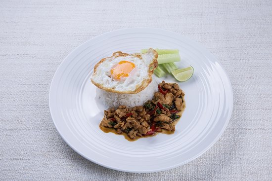 Soi Dao Restaurant: Your choice of chicken, pork, prawns or mixed seafood in spicy basil sauce served with rice