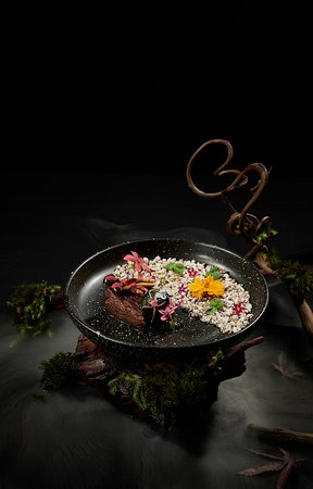 Smoked Saga Beef served with Pickled Mushroom and Chimichurri Sauce