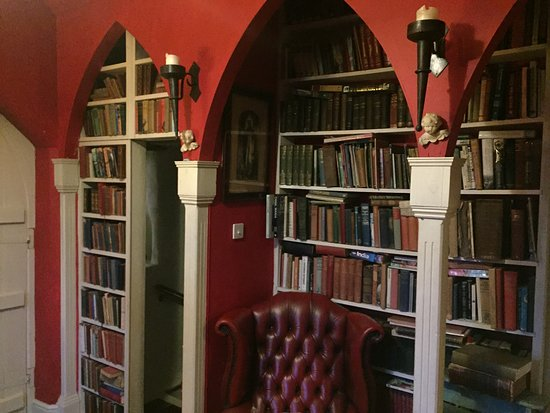 Trinity House B&B: Room to relax with secret hidden door in the bookcase to basement room.