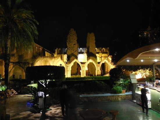 The Abbey at night (from the restaurant).
