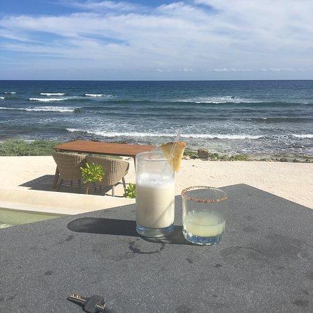 Hotel beach from bar terrace