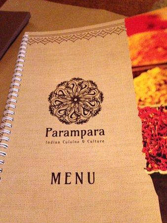 Restaurant indien Parampara Indian Cuisine & Culture: Menu cover