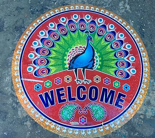 Welcome sign on Diwali (peacocks are sacred in India)