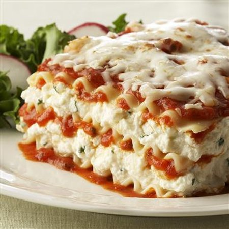 Lasagna filled with Ricotta- built to order with your choice of sauce.