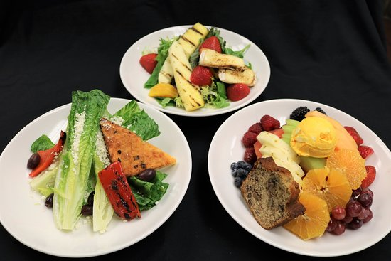 Don Ricos Sports Bar & Grill: Caribbean Mixed Green Salad, Tropical Fruit & Sorbet, Wedge Salad with sugar rubbed bacon planks