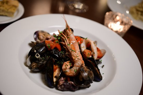 Black squid ink risotto with mixed seafood