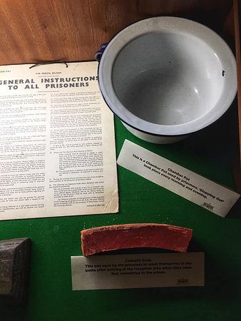 Belfast, UK: Chamber pot plus a bar of the soap used on prisoners when they initially arrived at the jail