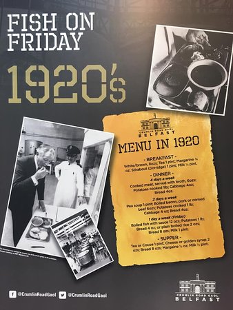 By the 1920s the jail menu had expanded considerably