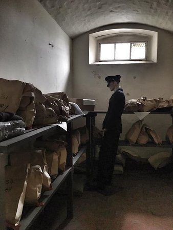 Parcel room, where prisoners' parcels were received and searched. Prisoners were allowed up to 3 parcels a week.
