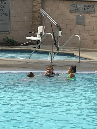 The pool is large and has no real deep end, family friendly.
