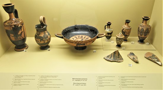 Pottery display on the ground floor of the Museum of the Ancient Agora.
