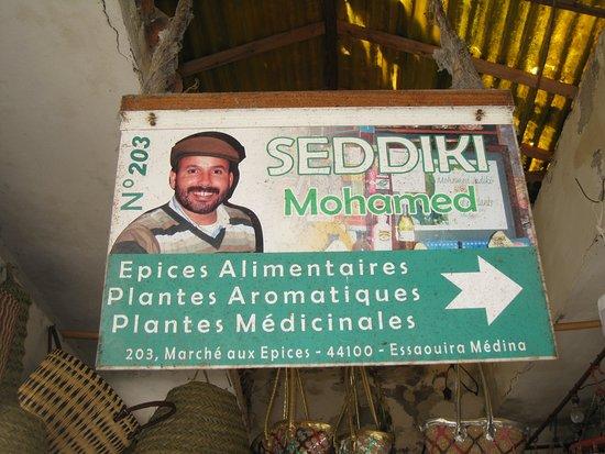 Spice dealer in the Medina, L'Atelier Madada Moroccan Cooking Workshop, Essaouira, Morocco
