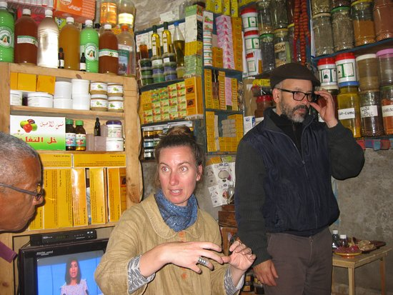 Allison teaching us about different spices in the Medina, L'Atelier Madada Moroccan Cooking Workshop, Essaouira, Morocco