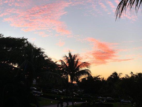 Beautiful sunset taken in front of Hacienda entrance