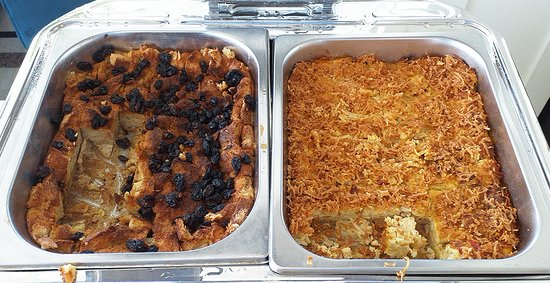 Bread and butter pudding on the left