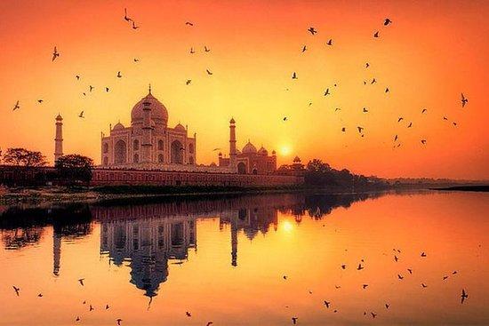 清早日出泰姬陵和阿格拉堡从德里由高速公路