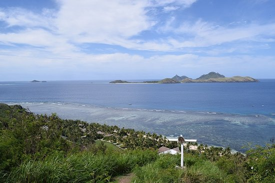 A view from the top of Tokoriki Island, there is a trail to the top, use the hand ropes, steep in some areas. Not recommended for frail people. You can see the reef areas:)
