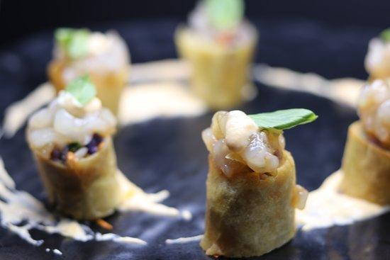 Savage Restaurant: Vegetable Spring Roll and Prawn Tartar