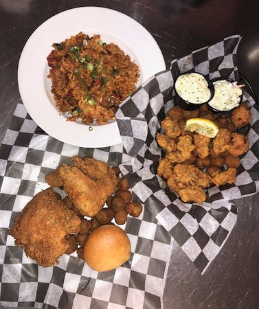 Jambalaya, Fried Chicken, and Fried Oysters.