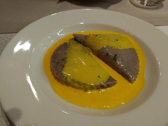 Rikli Balance Hotel, Veranda Restaurant - Buckwheat pocket pasta with ricotta served with saffron sauce