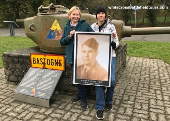 """Бастонь, Бельгия: Recent Winter Battle of the Bulge Tour, for the family of a 10th Armored Division Tanker, who fought in Metz, Bastogne and through the """"Siegfried Line"""""""
