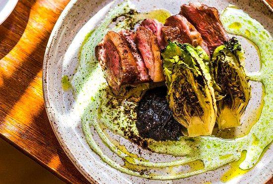 Ox Club: Salt aged lamb rump, grilled baby gem, buttermilk, black garlic