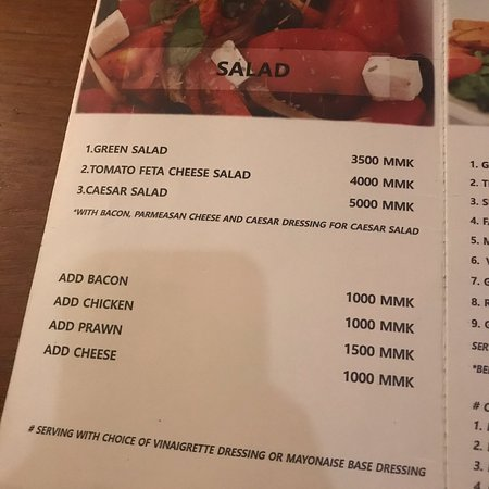 Menu as of November 2018