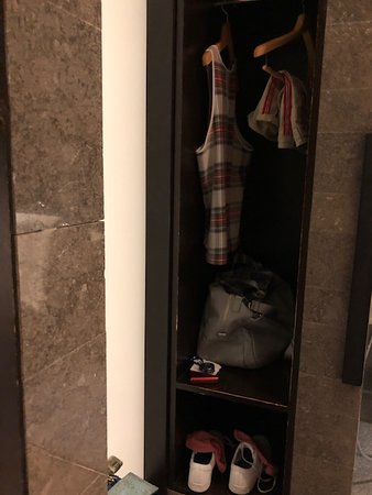 Japan Airlines (JAL): Clothes closet in shower room