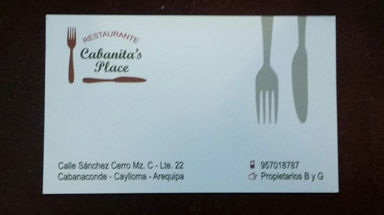 Restaurante Cabanita's Place: Business card from the owners