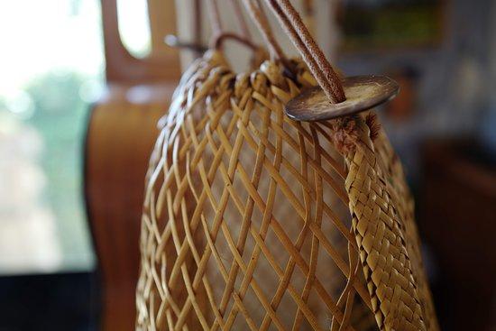 Oceanos: A wicker basket made for the beach.