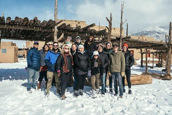 Taos Artisan Walking Tour & Chocolate: Our group with Angelisa at Taos Pueblo.