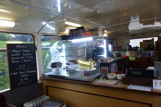 The Boatyard Bus Cafe: Range of cakes available on display