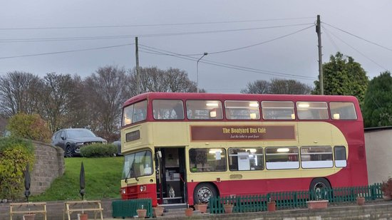 The bus exterior at dusk