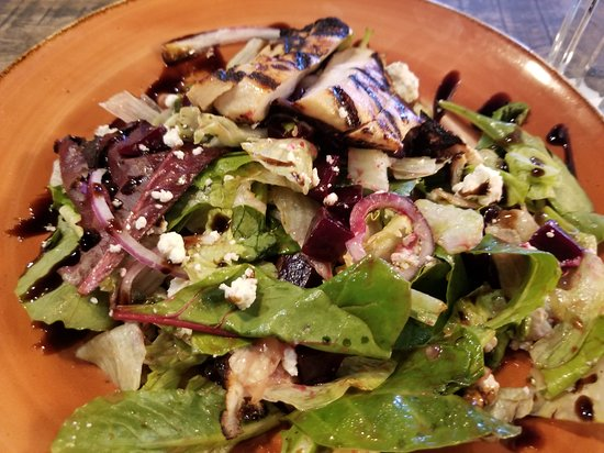 Grilled chicken beet and goat cheese salad. Low in calories and  large  enough to be quite  filling.