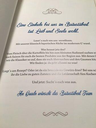 Braustuberl: Begrüßung Speisenkarte
