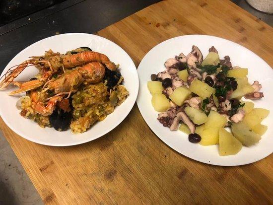 Paella e polpo con patate