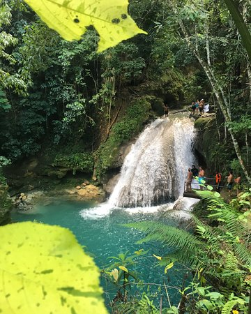 main waterfall at the Blue Hole (Blue Hole, Tubing and Zipline Tour)